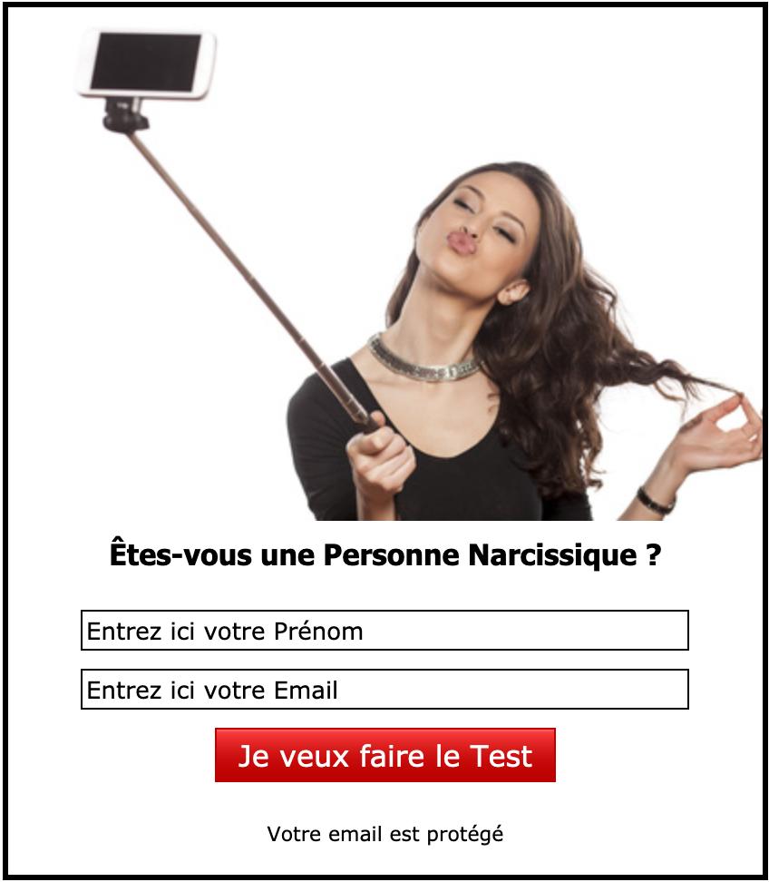 Formulaire d'inscription au Test de la Personne Narcissique
